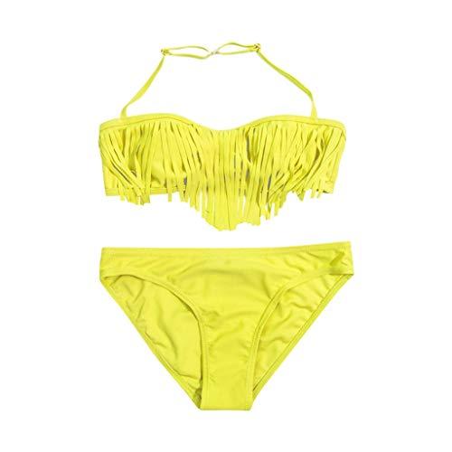 Badeanzug für Mädchen,Bademode Kinder Baby Mädchen Solid Tassel Bikini Set Swimwear Badeanzug Swimsuit Bathing Clothes Gelb (Verschiedene Internationale Kostüme)
