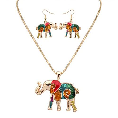 MESE London Conjunto De Aretes Y Collar De Elefantes Coloridos Chapado en...