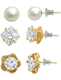 Spargz Alloy Gold Plated Multi-Shaped AD Stone Stud 3 Pair Earrings Set For Women AIER 1121