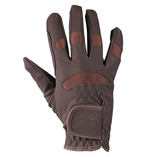 QHP Reithandschuhe Handschuhe Multi luftdurchlässig Stretch Klett (Braun, L) Multi Klett
