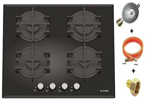 Vlano Gaskochfeld/GL 604 BK / 60 cm/Autark schwarz Glas Kochplatte Gas / 4 SABAF Gasbrenner/Stark / Turbo Brenner/Gusstopfträger / Einhand Zündung/versch. Ausführungen (60 cm mit Flüssiggas Set) -