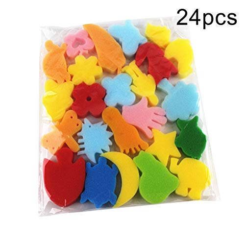 0Miaxudh Kinder Malen Schwamm, 24 Stücke Bunte Verschiedene Schwamm Kinder DIY Malerei Kunsthandwerk Bildung Spielzeug Random Color 24pcs
