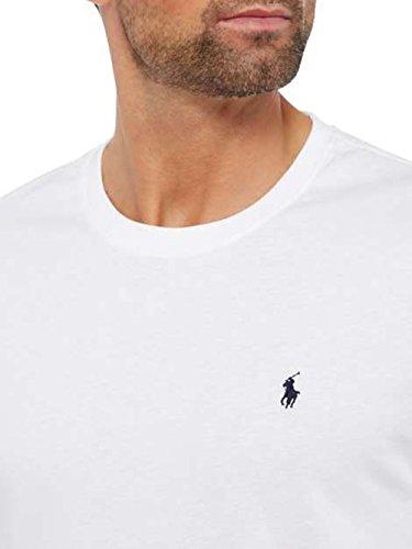 Ralph Lauren Mens Rundhalsausschnitt T-Shirt Langarm-Passform Weiß