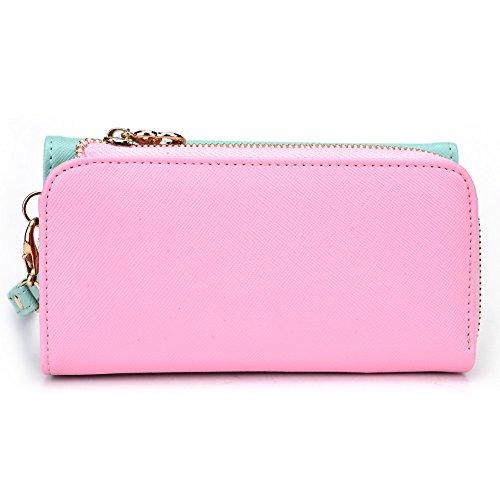 Kroo d'embrayage portefeuille avec dragonne et sangle bandoulière pour Smartphone Nokia 207 Noir/rouge Green and Pink