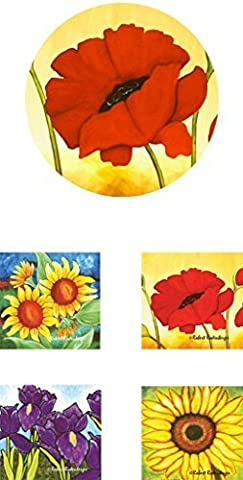 Bundle 5 Piece Home or Office - Assorted Flowers - Mousepad/Trivet and Four (4) Coasters Neoprene by Jazzy Artz Inc