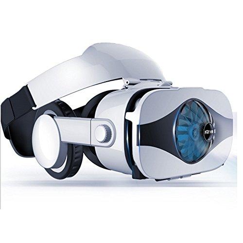 IshowStore 3D VR Headset Virtual Reality Brille Ventilator Kühlung mit integrierten Kopfhörern für Filme, Spiele für 11,5-6,33 Zoll iPhone Android Smartphone