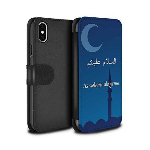 eSwish PU-Leder Hülle/Case/Tasche/Cover für Apple iPhone XS Max/As-Salamu Alaykum Muster/Islam Koran Vers Kollektion
