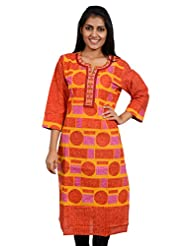 Anuradha Women's Cotton Self Print Orange Kurti