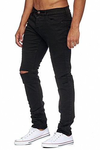 MEGASTYL Biker-Jeans Herren Hose Stretch-Denim Slim-Fit classic Schwarz Ripped