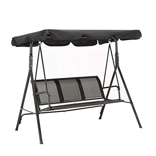 Schwarz 3-sitzer (MCombo 3-Sitzer Hollywoodschaukel Gartenschaukel Gartenliege Schaukelbank 8007 (Schwarz))