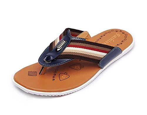 GLTER Hommes Flip Flops Été Nouveaux Sandals Chaussures Casual Chaussons respirant en cuir Beach Pool Shoes treasures blue