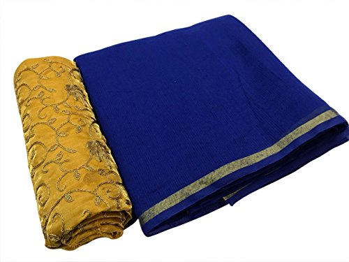 SilverStar Women's Chanderi Cotton Blue Color Plain Saree With Yellow Color Embroidery...