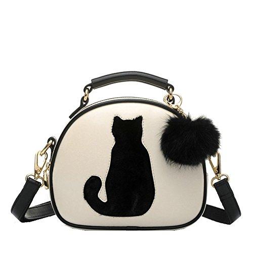 Messenger Tasche, Cozyswan Mädchen Messenger bag PU Leder Handtasche Niedliche Katze Umhängetasche mit Plüsch Anhänger Crossbody Messenger Tasche (Beige)
