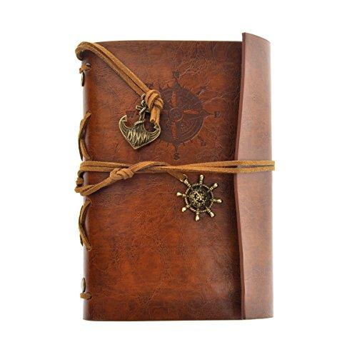 NUOLUX Retro Vintage Pirate Cuaderno,PU Cuero Libreta Bonitas Hojas Blancas Cuaderno de Viaje Bloc Notas Diario de viaje Jotter,cadena suelta String Bound (marrón)