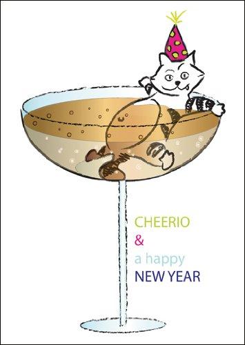 Silvester Glückwunschkarte/ Neujahrsgruß/ Grußkarte zum Neuen Jahr mit in Champagner badender Katze: CHEERIO & a happy NEW YEAR ()
