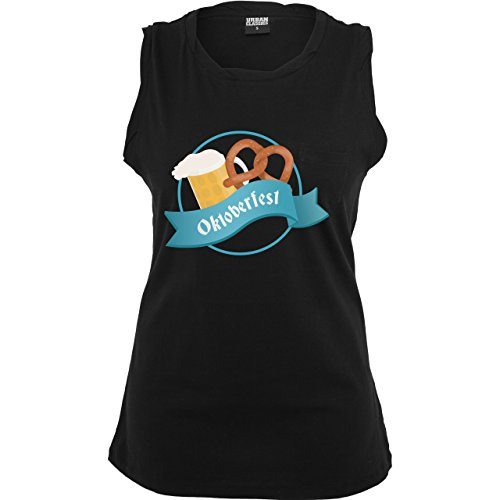 Oktoberfest Damen - Oktoberfest - ärmelloses Damen T-Shirt mit Brusttasche Schwarz