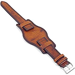 DASSARI Analogue Vintage Italian Leather Bund Watch Strap in Brown 22mm