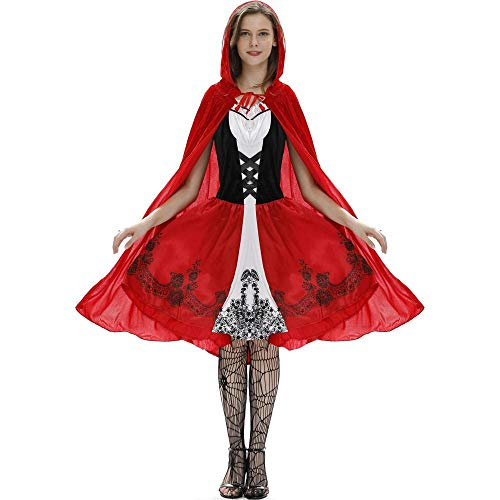 Halloween Meine Damen Mantel Little Red Riding Hood Halloween Kostüm Cosplay Set Spiel Einheitliche, Rot, S