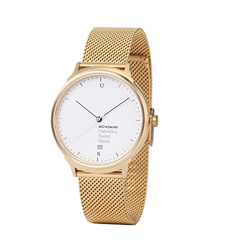 Mondaine HELVETICA NO1 LIGHT HOLIDAY ED. MH1.L2211.SM - Reloj para mujeres, correa de acero inoxidable color dorado