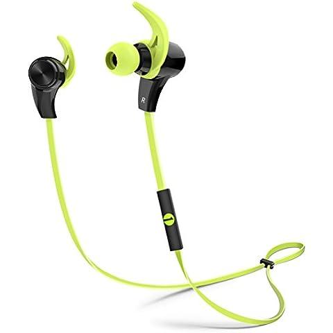 1byone Moda universal Bluetooth Wireless 4.1 Deporte Ergonomica Auricular, prueba a sudor auricular estéreo bilaterales, compatible con la mayoría teléfonos inteligentes y otros dispositivos Bluetooth, Negro&Verde