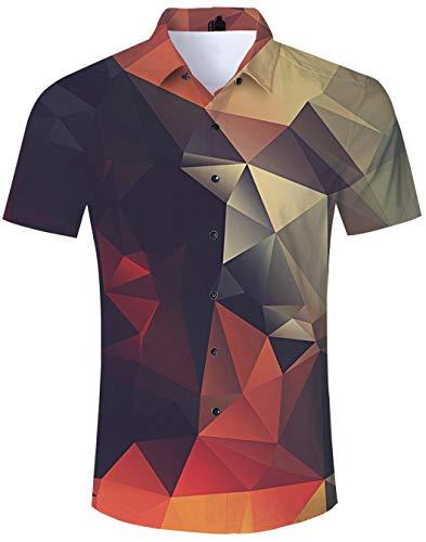 Spreadhoodie Homme Chemise Hawaienne T-Shirt Casual Manche Courte Imprimé Col Roulé Top Chemisette pour Plage Vacances