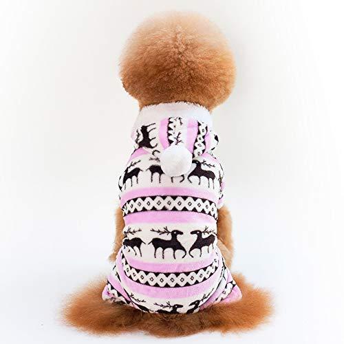 Haustier Hund Mit Kapuze Kleidung, Kleiner Hund Katze Kleidung Für Junge Mädchen Weichen Samt Muster Hund Pyjama Welpe Hoodie Mit Kapuze Overall,D,L (Jungen Kleinen Pyjamas Hund Hund)