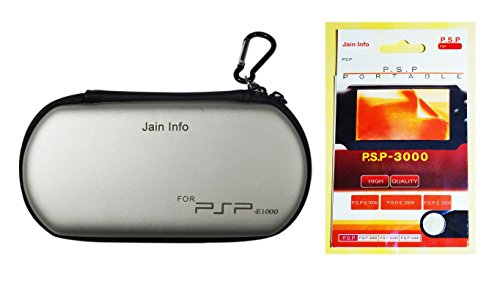 "Jain Info™ Branded Zip Pouch/Case/Cover (Grey Color) For PSP With a Free Screen Guard - - Compatible with PSP Consoles (1000/2000/3000 & Latest E1000/E1004 series). Generic (""Wholesale Bulk Deal"") New Model/Design 2017"