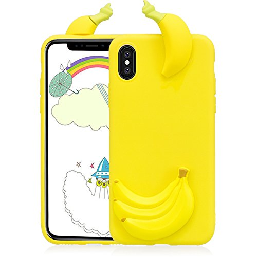 Cover iphone X Custodia iphone X Silicone 3D Cartoon Leton Morbido TPU Gel Case per Apple iphone X (5.8 pollici) Ultra Sottile Flessibile Satinato Gomma Caso Anti Graffio Antiurto Protettiva Bumper Ca Banana Gialla