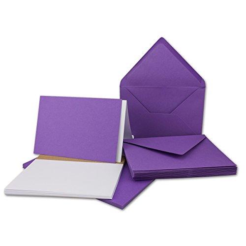 50x - DIN B6 Faltkarten-Set in Violett | 17,6 x 11,9 cm | mit Umschlägen & Einlegeblätter - Ideal für Einladungskarten und Grußkarten - Für Drucker geeignet - Qualitätsmarke: NEUSER® FarbenFroh®