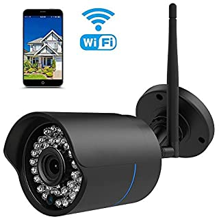 IP Kamera 1080P HUAYUU Überwachungskamera für Außen Wasserdicht WLAN Kamera für Außen WiFi für Outdoor/Indoor,Bewegungserkennung, Unterstützung FTP,Bis zu 128GB SD Karte-schwarz