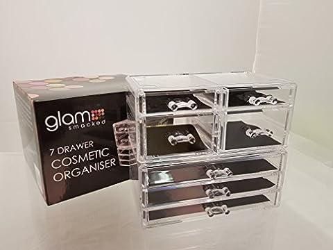 GLAMSMACKED ® Professional Clear Acrylic 7 Drawer Cosmetic Organiser –