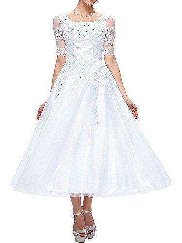 Brautkleider Hochzeitskleid A Linie Damen Tüll Kleid Kurzarm Weiß EUR58
