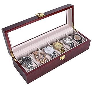 Autoark AAWU-050 Uhrenbox aus Holz mit 6 Fächern für Uhren, mit Glasdeckel, Metallschloss, Kirsche