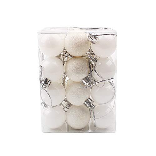 24Pcs Boule De Noël, BZLine Boule décorative d'arbre de Noël Décor de Noël suspendu pour Fête/mariage / décor de vacances (Blanc, Diamètre:30mm)