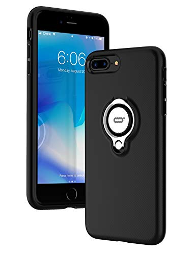 ICONFLANG iPhone 7 Plus Hülle, iPhone 8 Plus Tasche mit Ringständer, 360 Grad drehbarer Ring Grip Case, Dual Layer Stoßfest Schlagschutz für iPhone 8 Plus / 7Plus,Kompatibel mit Magnetic Car Mount