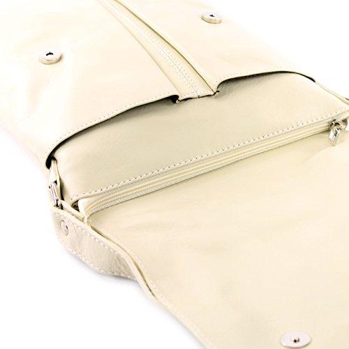 modamoda de ital. Borsa a tracolla Messenger signore borsa grande in pelle T75 Hellelfenbein