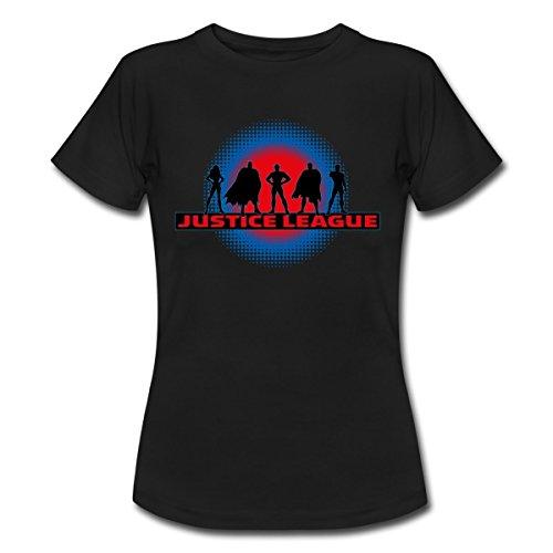 DC Comics Justice League Umrisse Superhelden Frauen T-Shirt von Spreadshirt®, L, (Schwarz Frauen Superheld)
