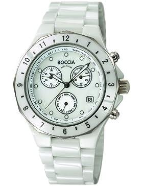 Boccia Unisex-Armbanduhr Chronograph Keramik weiß B3768-01