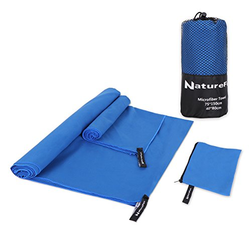 Naturefun asciugamano sportivo da viaggio in microfibra, leggero, asciugatura rapida, portatile, assorbente, antibatterico, per sport, nuoto, palestra, yoga, campeggio, escursionismo & altro