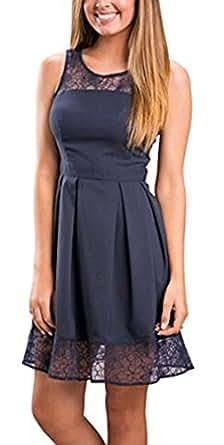 kaking Damen Kleid Sommerkleid Freizeitkleid Cocktailkleid Lace Spitzen Elegant Ärmellos Rundhals Knielang (EU L(38), Navy Blau)