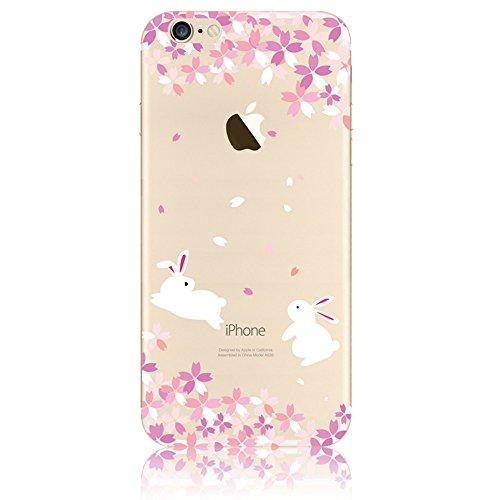 """Coque iPhone 7 4.7"""" Ultra-Mince Silicone TPU Gel Transparent Souple Etui Housse Sunroyal® Apple iPhone 7 (4.7 Pouces) Case de Protection Spécial Back Cover Anti-Choc Bumper - Fleur Violet Motif 17"""
