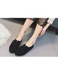 2017 verano nueva zapatos planos redondo retro cabeza salvaje arco zapatos casuales , black , 8