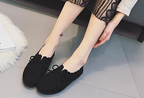 2017 estate nuove scarpe basse retro rotondo testa selvaggio arco scarpe casual Black