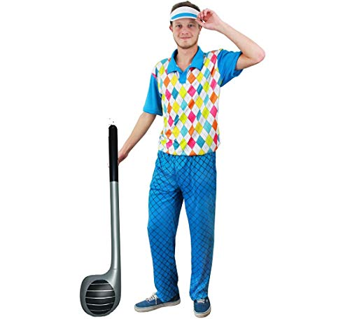 NER Golf KOSTÜM VERKLEIDUNG MIT AUFBLASBAREM GOLFSCHLÄGER = 4 Verschiedene GRÖSSEN=4 TEILIG =100% Polyester=Fasching Karneval Spass =Large ()