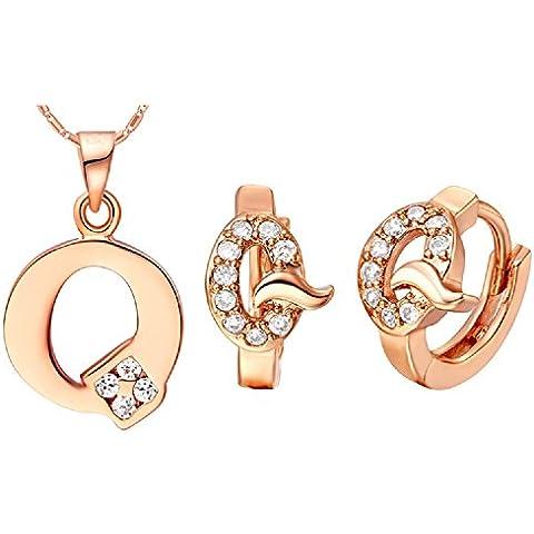 Bling fashion 18K oro rosa placcato 26lettere lettera Q collana e (Dragonfly 9 Accent)
