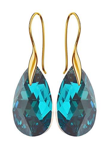'Gancio placcato oro * Mandele * 22mm * turchese orecchini da donna Cal bello orecchini con cristalli Swarovski-Meravigliosa orecchini con gioielli custodia