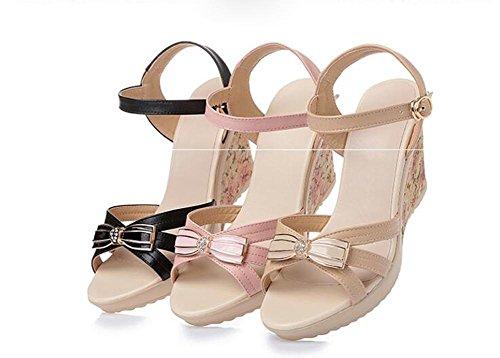 Demen L@YC Frauen Flache Abhang Mit Sandalen Sommer Leder Dick Casual High Heel Wasserdichte Plattform Pink