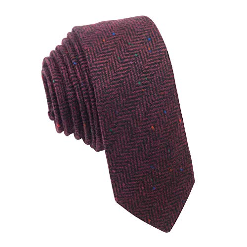 Bow Tie House Woolen necktie slim shape & tweed pattern, by (Red) Dark Red Bow Tie