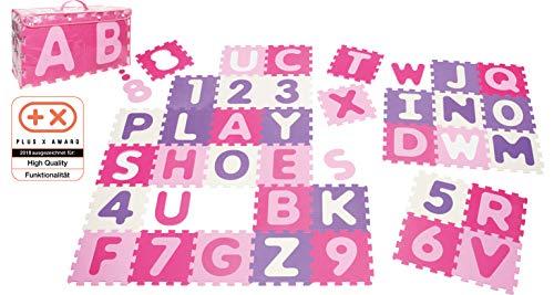 Playshoes 308746 - Puzzlematte für Babys und Kinder, Buchstaben und Zahlen, Spielmatte Spielteppich, Schaumstoffmatte, 36 teilig, Pastellfarben