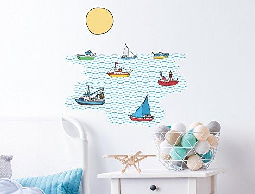 """I-love-Wandtattoo WAS-10468 Kinderzimmer Wandsticker """"Schiffe und Boote auf dem Meer"""" Wasserfahrzeuge zum Kleben Segelboot Segelschiff Wandtattoo Boot Wandaufkleber See Ozean Sticker Wanddeko maritim"""